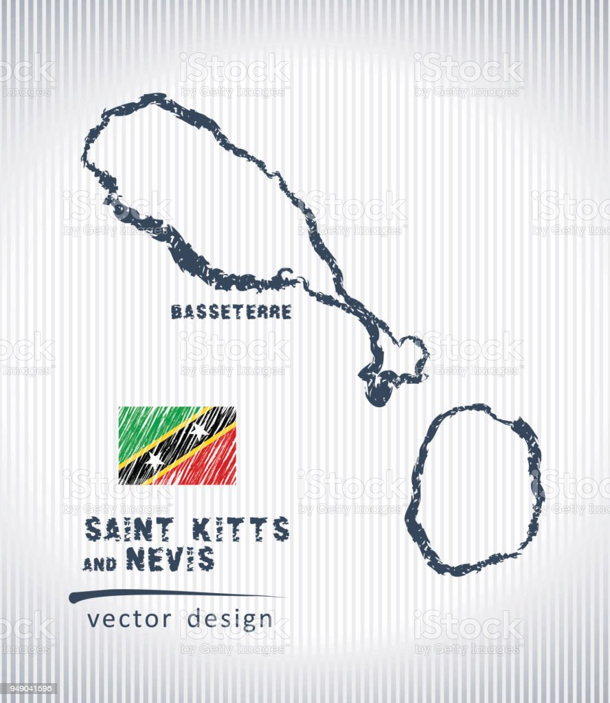 Saint Kitts and Nevis vector chalk drawing map isolated on a white background vector art illustration