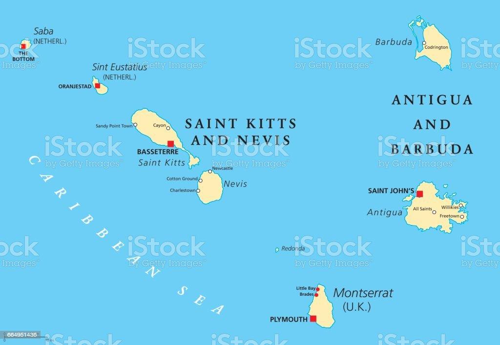 Saint Kitts Nevis Antigua Barbuda And Montserrat Political Map Stock ...