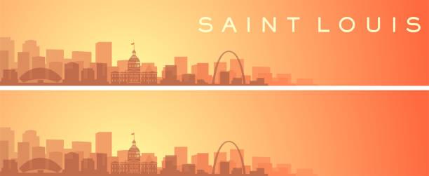 saint louis beautiful skyline scenery banner - st louis stock illustrations