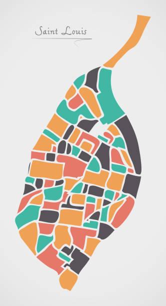 聖路易斯密蘇裡地圖與鄰里和現代圓形狀 - st louis 幅插畫檔、美工圖案、卡通及圖標