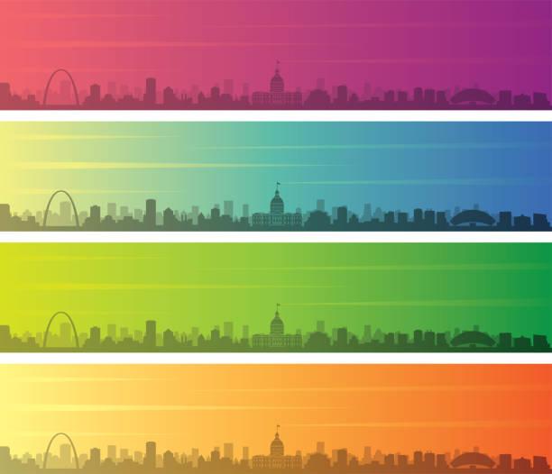 saint louis wiele kolorów gradient skyline banner - st louis stock illustrations