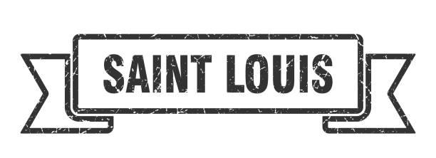 saint louis ribbon. black saint louis grunge band sign - st louis stock illustrations