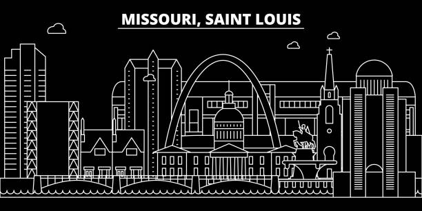 聖路易斯剪影天際線。美國-聖路易斯向量城市, 美國線性建築學, 大廈。聖路易斯旅行插圖, 地標。美國平面圖標, 美國線橫幅 - st louis 幅插畫檔、美工圖案、卡通及圖標