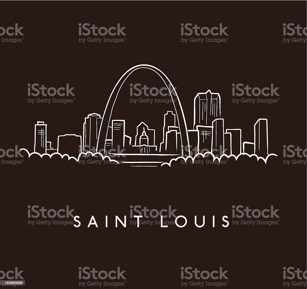 Saint Louis Skyline Sketch vector art illustration