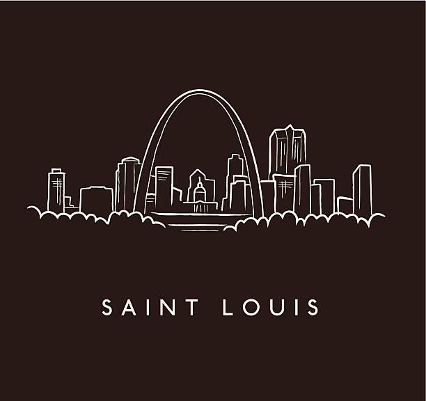 saint louis skyline rys - st louis stock illustrations