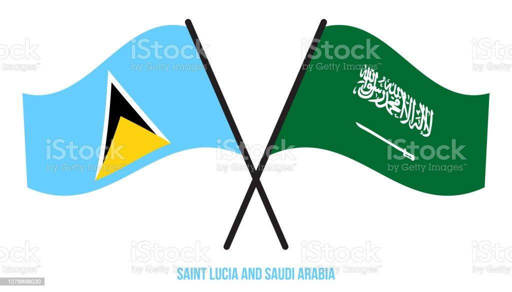 Saint Lucia och Saudiarabien Flaggor korsade platt stil. Officiella Proportion. Rätta färger - Royaltyfri Design vektorgrafik