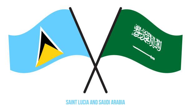 bildbanksillustrationer, clip art samt tecknat material och ikoner med saint lucia och saudiarabien flaggor korsade platt stil. officiella proportion. rätta färger - lucia