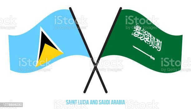 Saint Lucia Och Saudiarabien Flaggor Korsade Platt Stil Officiella Proportion Rätta Färger-vektorgrafik och fler bilder på Design