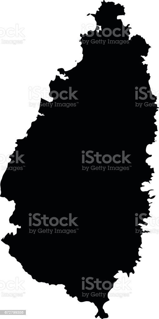 Saint Lucia black map on white background vector vector art illustration
