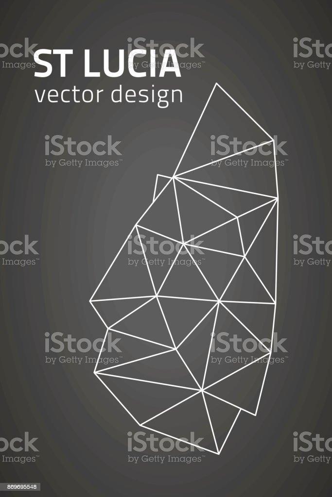 Saint Lucia black triangle vector mosaic outline map vector art illustration