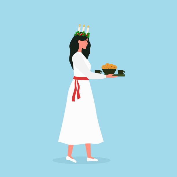 bildbanksillustrationer, clip art samt tecknat material och ikoner med saint lucia dag. vacker flicka med svenska traditionella saffransbullar och kaffe. skandinavisk jul. vektor - lucia