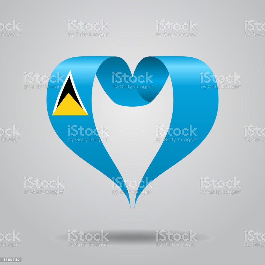 Saint Lucia flag heart-shaped ribbon. Vector illustration. vector art illustration
