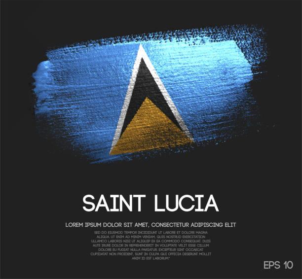 bildbanksillustrationer, clip art samt tecknat material och ikoner med saint lucia flagga gjord av glitter sparkle brush paint vektor - saint lucia