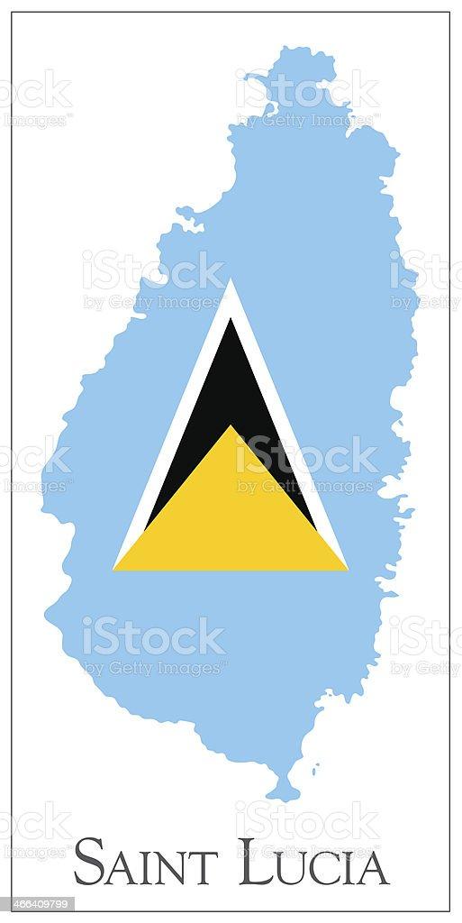 Saint Lucia flag map vector art illustration