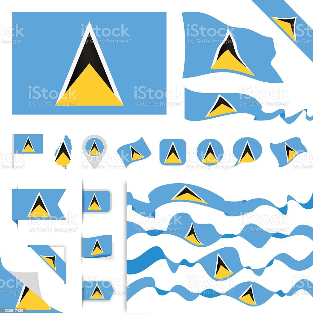 Saint Lucia Flag Set vector art illustration