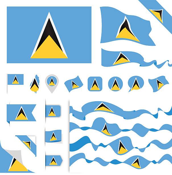 bildbanksillustrationer, clip art samt tecknat material och ikoner med saint lucia flag set - saint lucia