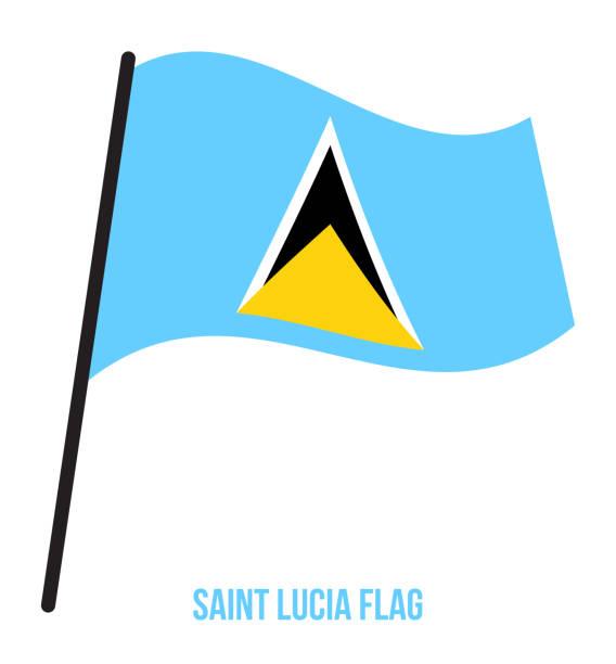 bildbanksillustrationer, clip art samt tecknat material och ikoner med saint lucia flagga vajande vektorillustration på vit bakgrund. saint lucia flagga. - saint lucia