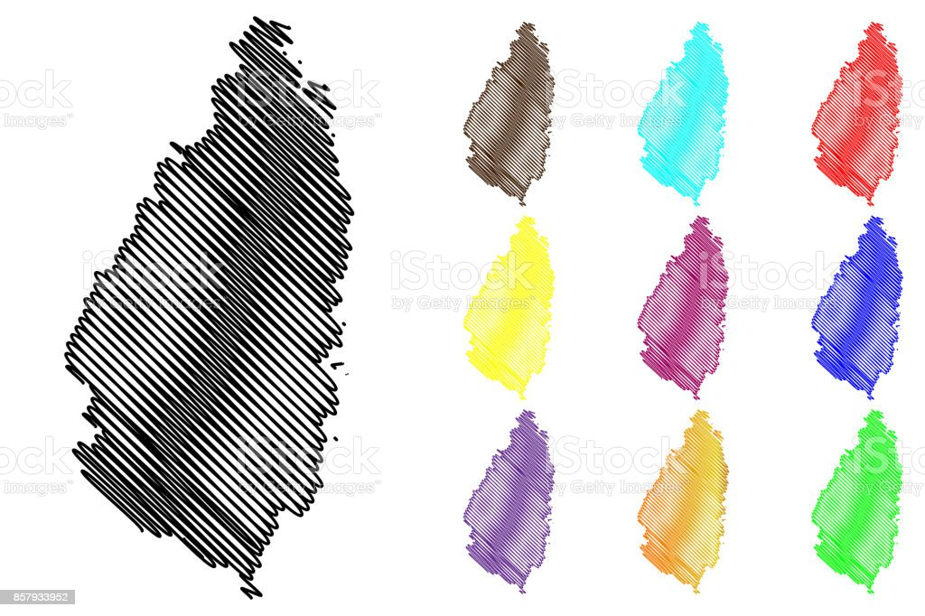 Saint Lucia island map vector vector art illustration