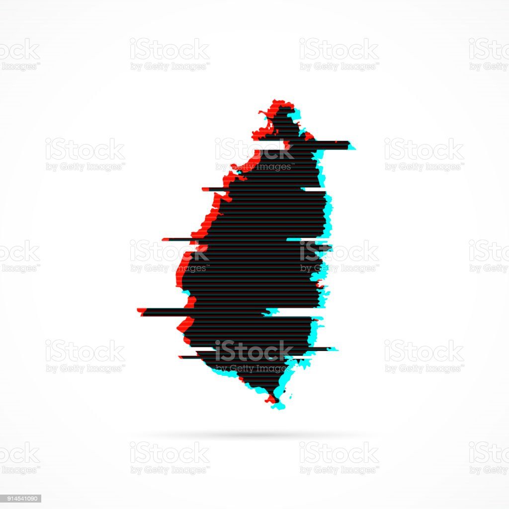 Saint Lucia map in distorted glitch style. Modern trendy effect vector art illustration