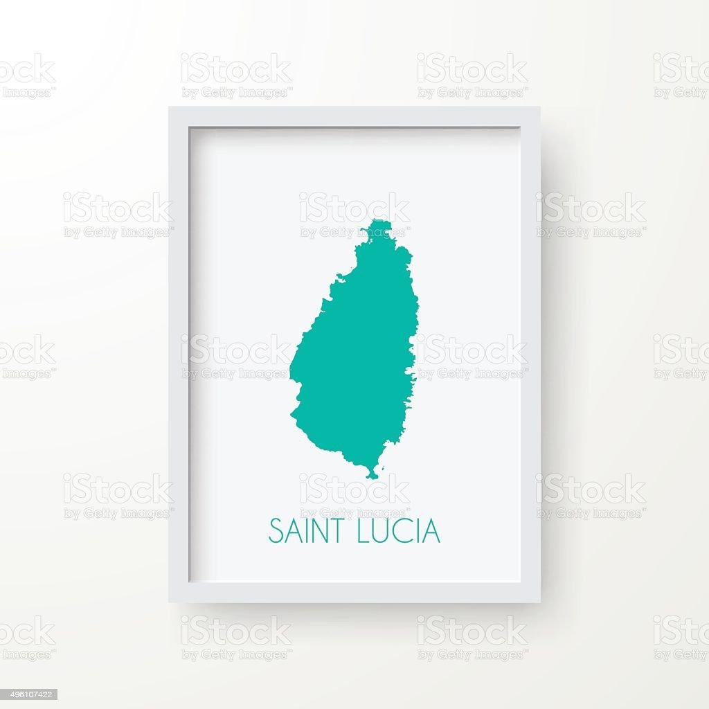 Saint Lucia Map in Frame on White Background vector art illustration