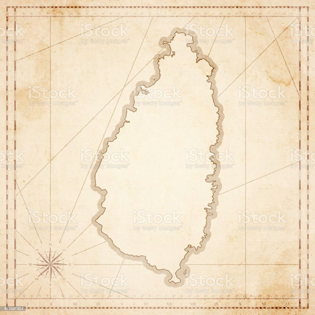 Saint Lucia map in retro vintage style - old textured paper vector art illustration