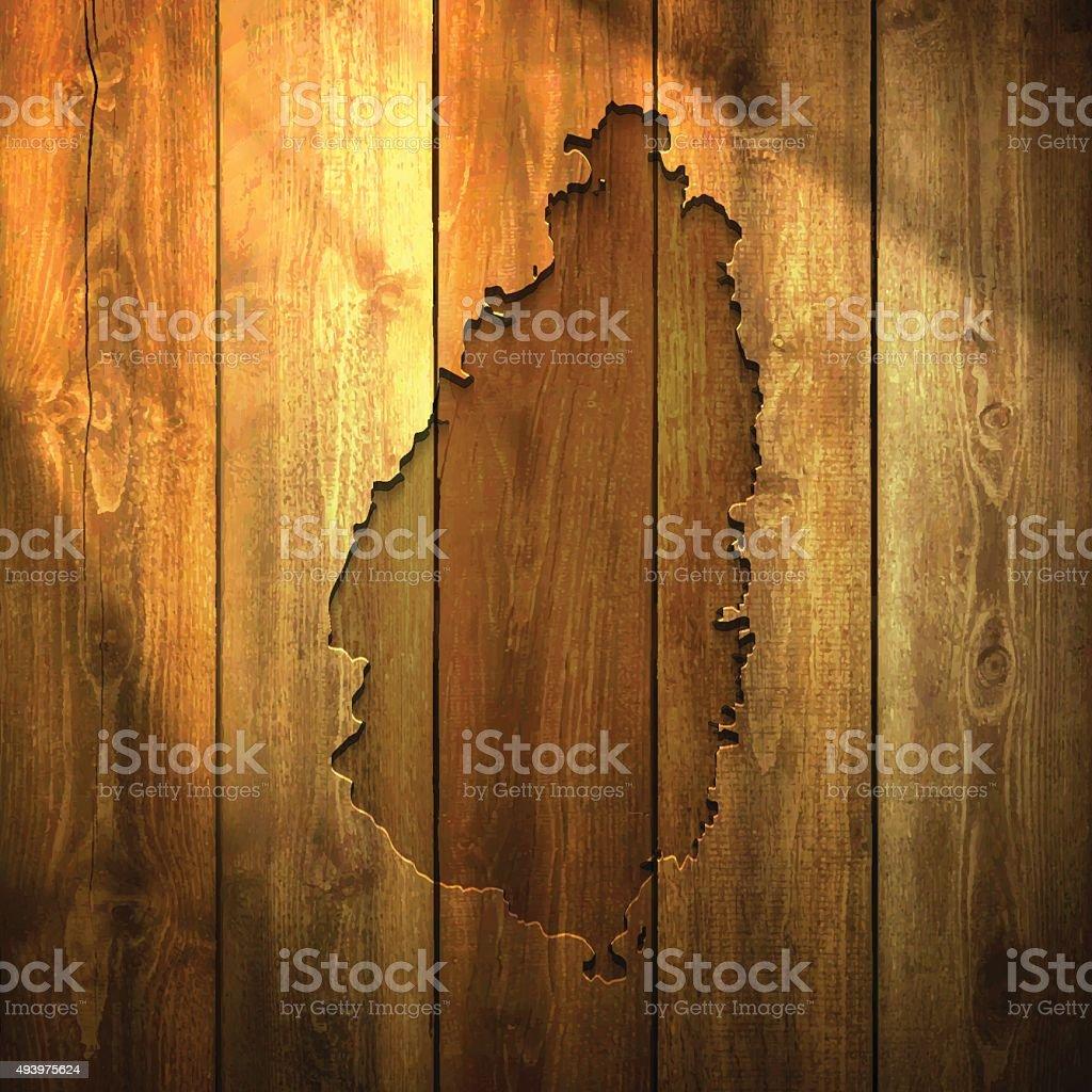 Saint Lucia Map on lit Wooden Background vector art illustration