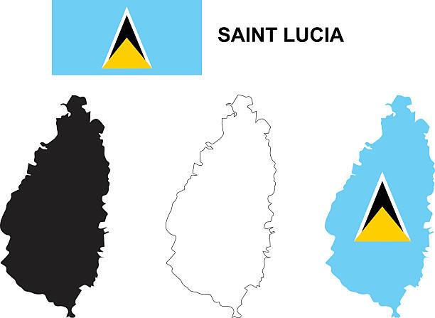 bildbanksillustrationer, clip art samt tecknat material och ikoner med saint lucia map, saint lucia flag, isolated saint lucia - lucia