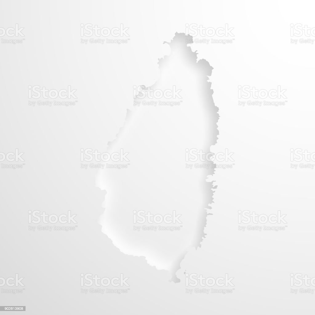 Saint Lucia map with embossed paper effect on blank background vector art illustration