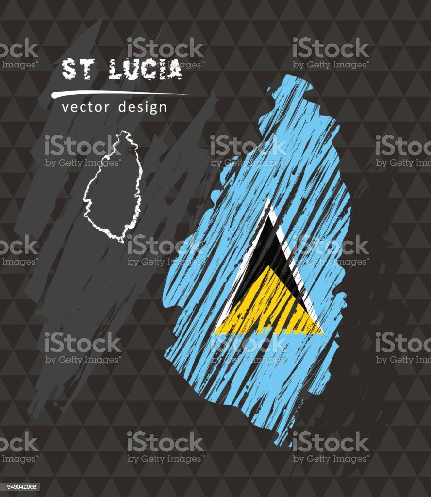 Saint Lucia map with flag inside on the black background. Chalk sketch vector illustration vector art illustration