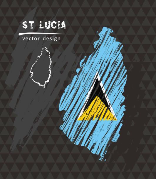 bildbanksillustrationer, clip art samt tecknat material och ikoner med saint lucia karta med flagga inne på den svarta bakgrunden. krita skiss vektorillustration - saint lucia
