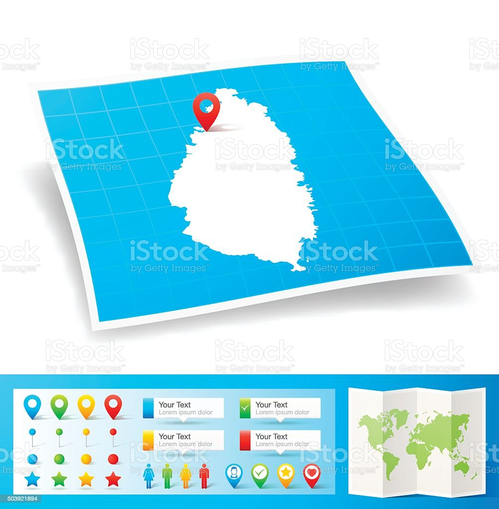 Saint Lucia Map with location pins isolated on white Background vector art illustration