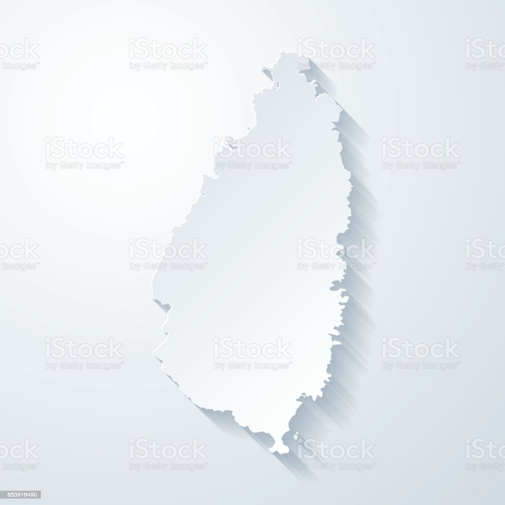 Saint Lucia map with paper cut effect on blank background vector art illustration