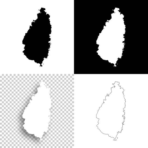 bildbanksillustrationer, clip art samt tecknat material och ikoner med saint lucia kartor för design - blank, vit och svart bakgrund - saint lucia
