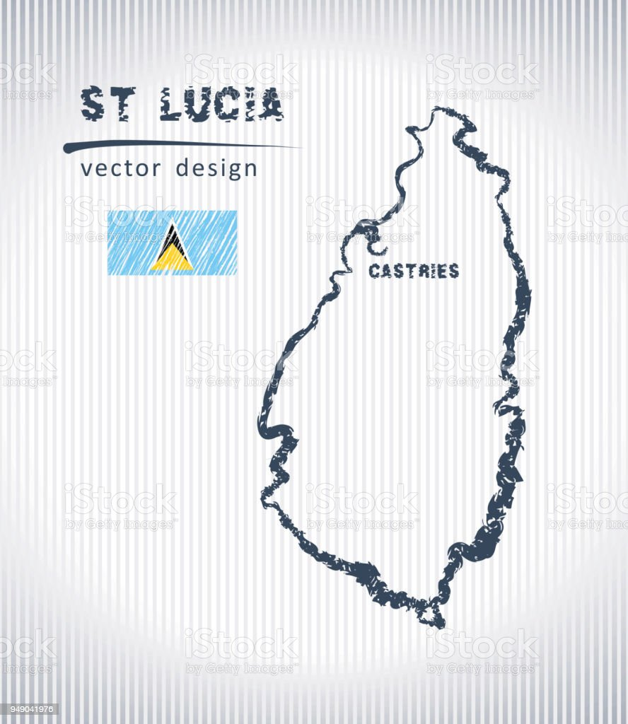 Saint Lucia national vector drawing map on white background vector art illustration
