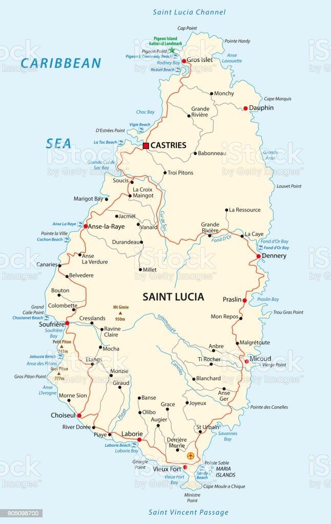 saint lucia road and beach map vector art illustration