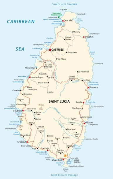 bildbanksillustrationer, clip art samt tecknat material och ikoner med saint lucia road och beach karta - saint lucia