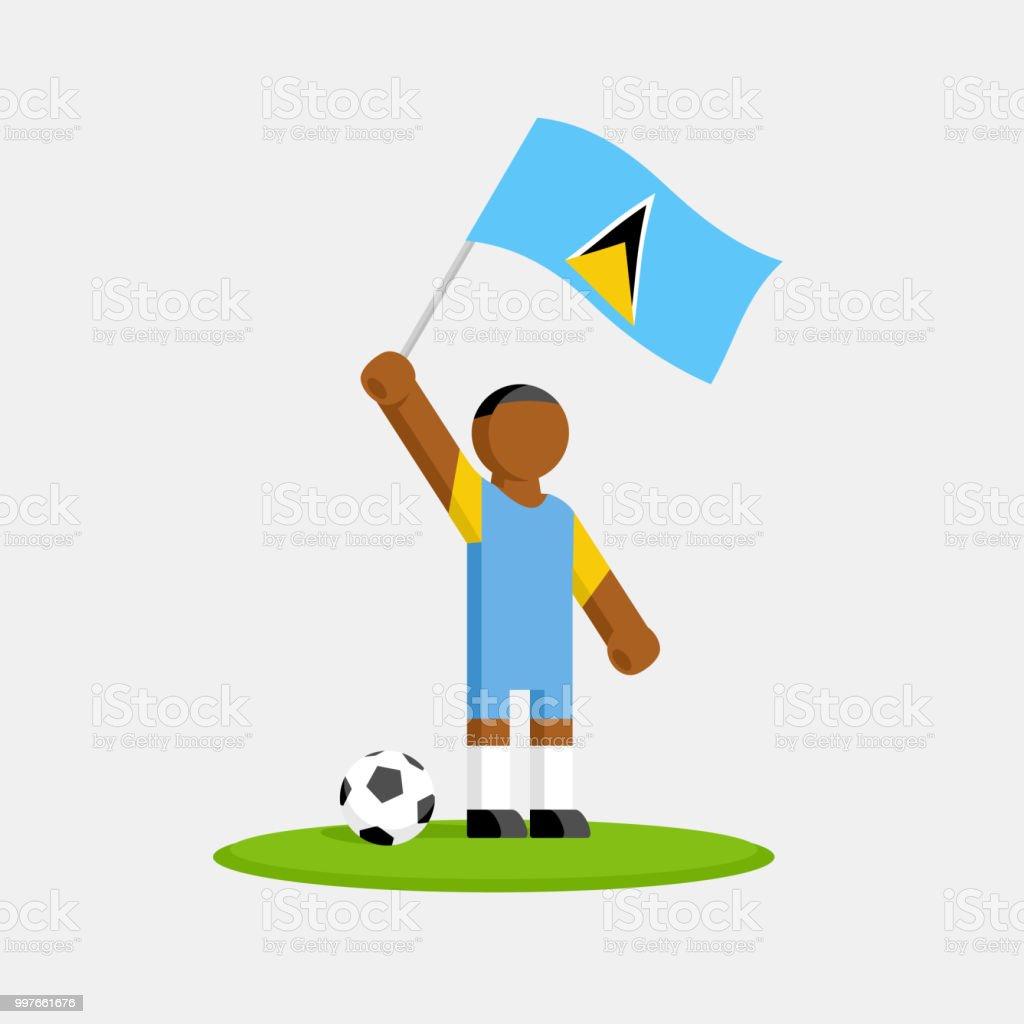 Saint Lucia Fussballspieler Im Kit Mit Fahne Und Ball Stock