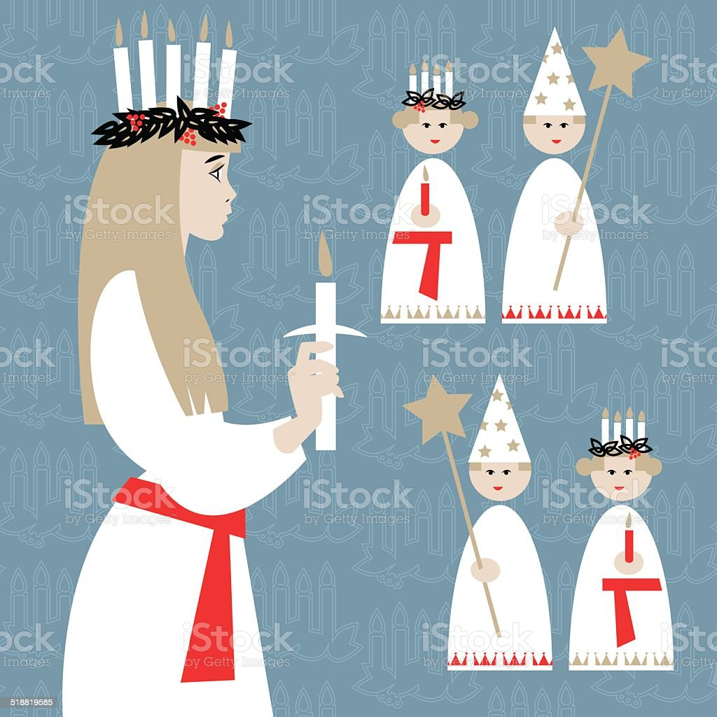 Saint Lucia Swedish Christmas tradition. St. Lucia's Day. Scandinavian Christmas. vector art illustration