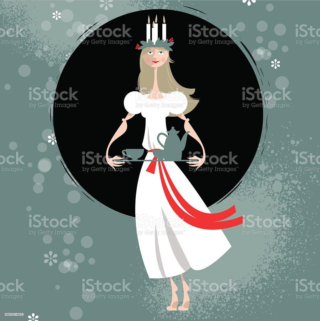 Saint Lucia Swedish Christmas tradition. St. Lucia's Day. Scandinavian Christmas. vector art illustration