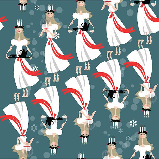 Navidad Santa Lucía tradición sueca. St. Lucia del día. Patrón sin costuras. - ilustración de arte vectorial