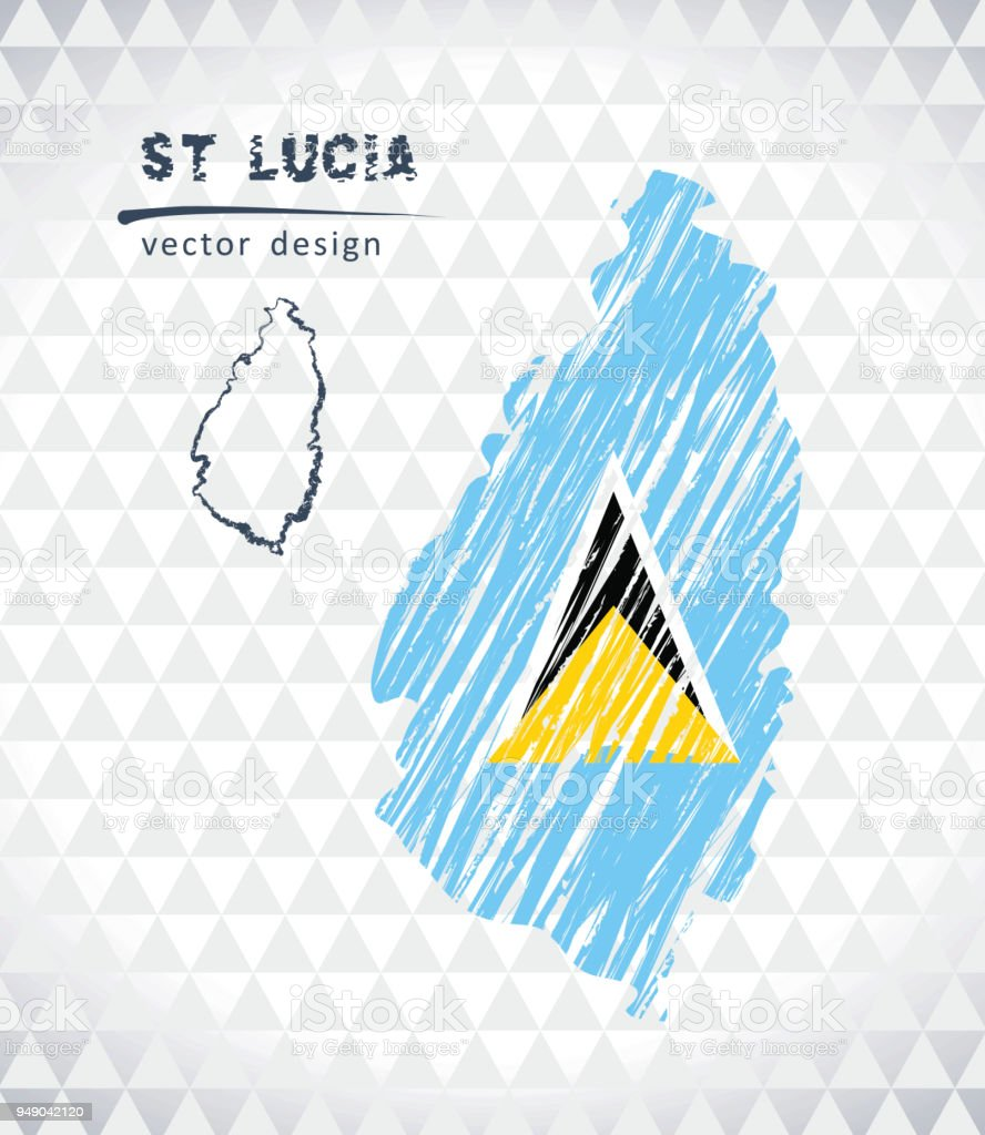 Saint Lucia vector map with flag inside isolated on a white background. Sketch chalk hand drawn illustration vector art illustration