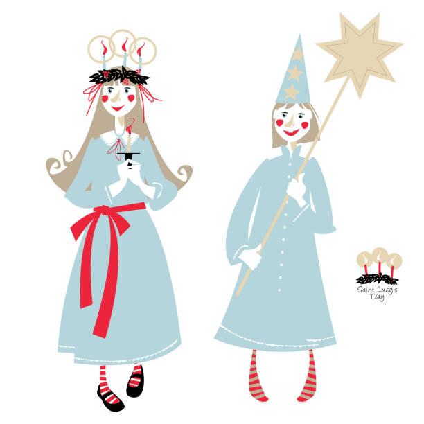 bildbanksillustrationer, clip art samt tecknat material och ikoner med saint lucys dag. st. luciatåget. skandinaviska jultradition. - lucia