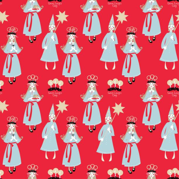bildbanksillustrationer, clip art samt tecknat material och ikoner med saint lucys dag. st. luciatåget. skandinaviska jultradition. sömlös bakgrundsmönster. - lucia