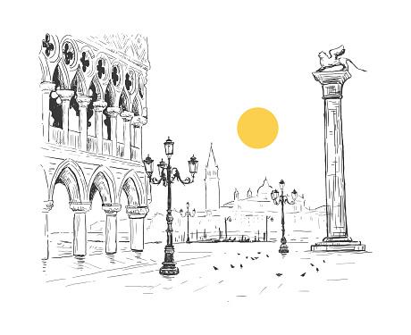 Saint Mark's Square, Doge's Palace in Venice, Italy. San Giorgio Maggiore. Colonne di San Marco. Hand drawn sketch vector illustration. Romantic cityscape with sun.