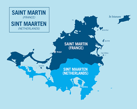 Saint Martin island, France. Overseas territory, French antilles. Sint Maarten island, Netherlands.  Detailed political vector map with isolated regions, cities and islands, easy to ungroup.