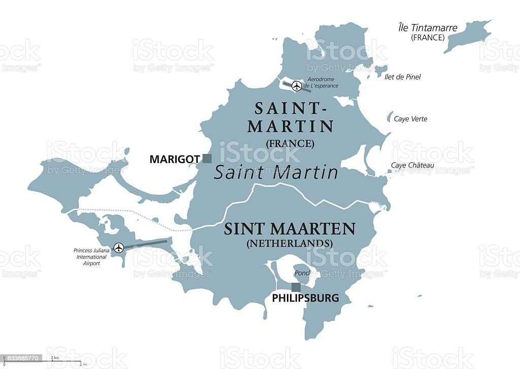 Saint Martin island political map vector art illustration