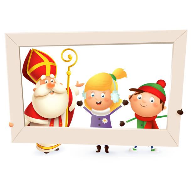 stockillustraties, clipart, cartoons en iconen met sinterklaas en kinderen meisje en jongen met fotolijstjes-geïsoleerd op witte achtergrond - cadeau sinterklaas