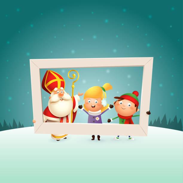 stockillustraties, clipart, cartoons en iconen met sinterklaas en kinderen meisje en jongen met fotolijstjes-winter scène achtergrond - cadeau sinterklaas
