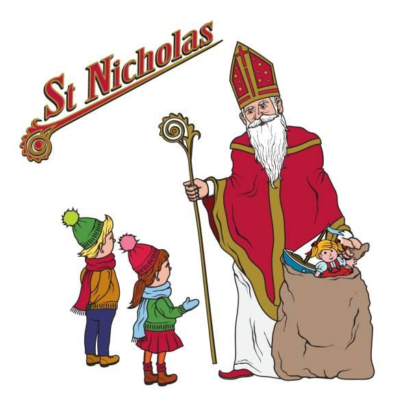 illustrations, cliparts, dessins animés et icônes de saint nicolas et les enfants - saint nicolas