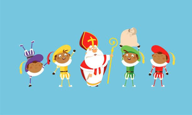 stockillustraties, clipart, cartoons en iconen met sinterklaas en helpers vieren en hebben plezier - vector illustratie cartoon stijl - cadeau sinterklaas